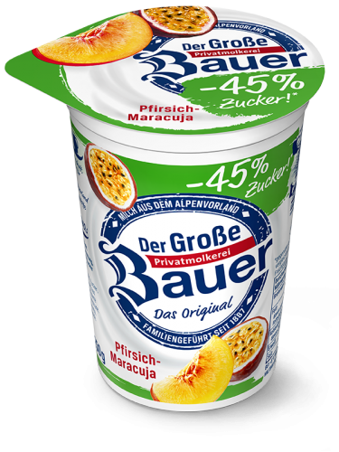 DER GROSSE BAUER Peach - Passion Fruit less sugar 250g